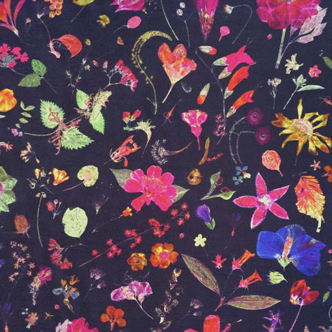 Liberty Silk/Cotton Voile: Floral Eve Navy (A)