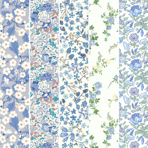 **Pre-Order** Liberty Fabrics Organic Tana Lawn: Light Blue FQ Bundle