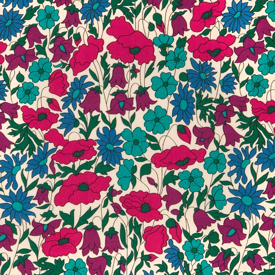 Liberty Of London Tana Lawn Poppy And Daisy Purple Blue