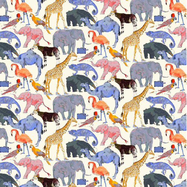 Liberty of London Tana Lawn: Queue for the Zoo Blue/Orange (E)