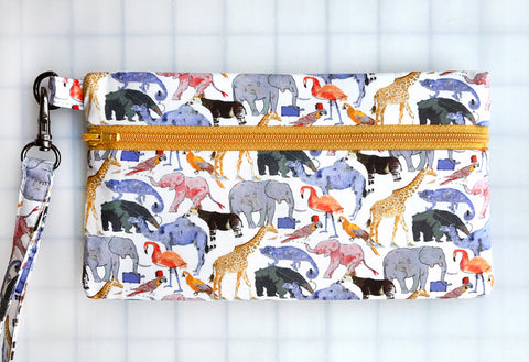 Wristlet Zipper Pouch: Queue for the Zoo