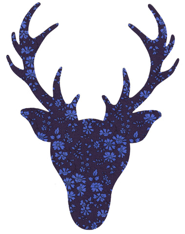 Liberty of London Die Cut: Large Stag Head: Capel Navy