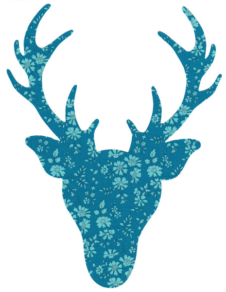 Liberty of London Die Cut: Large Stag Head: Capel Teal
