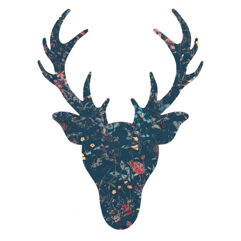 Liberty of London Die Cut: Large Stag Head: Wild FLowers