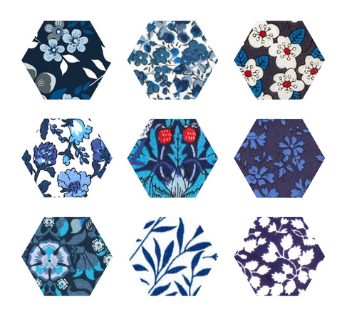 "1-1/4"" Hexagons: Blue"