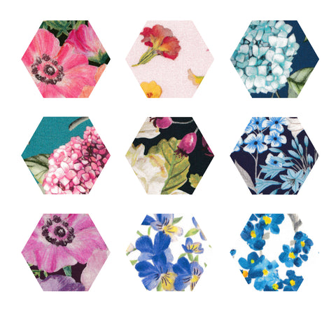 "1-1/4"" Hexagons: Botanicals Collection"