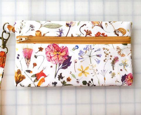 Wristlet Zipper Pouch: Floral Eve with Gold Zip