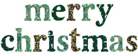 "Die-Cut Fusible Letters: ""merry christmas"" GREEN"