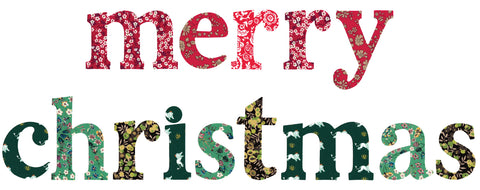 "Die-Cut Fusible Letters: ""merry christmas"" RED/GREEN"