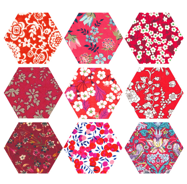 "1-1/4"" Hexagons: Red"