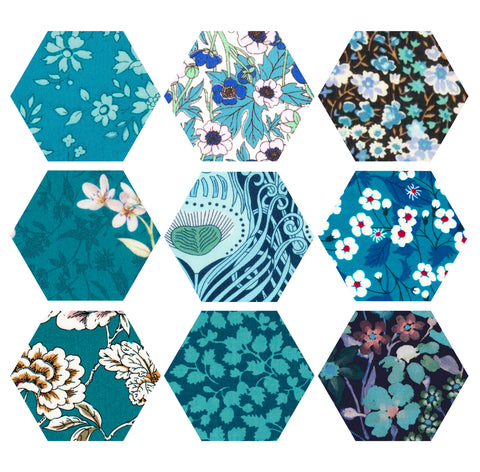 "1-1/4"" Hexagons: Teal"