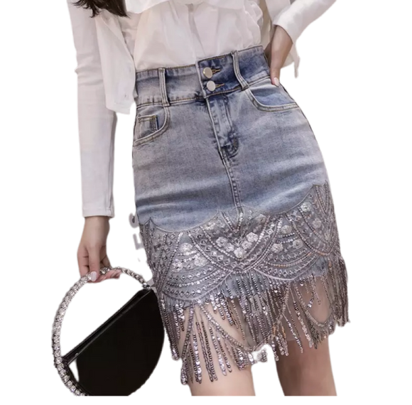 Sha Sha denim tassle mini skirt