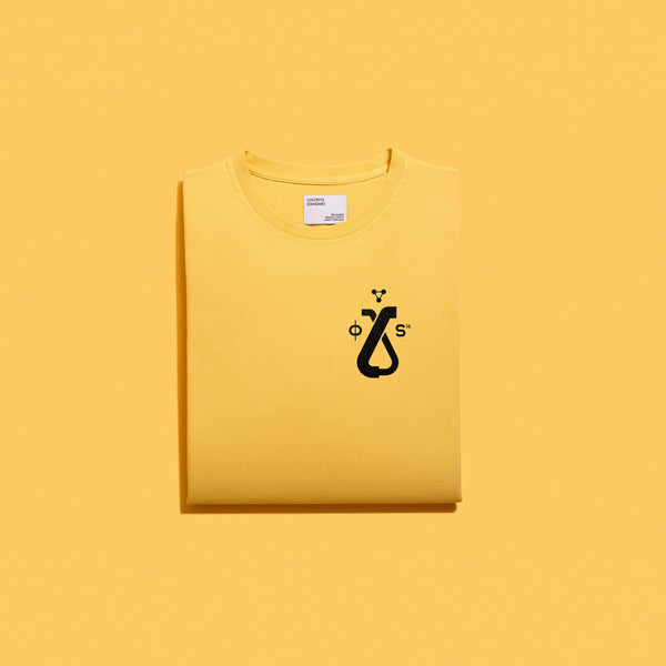 PALE YELLOW TEE-SHIRT - BLACK LOGO