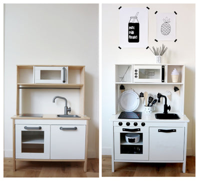 DIY: Monochrome Make-over Ikea Duktig keukentje