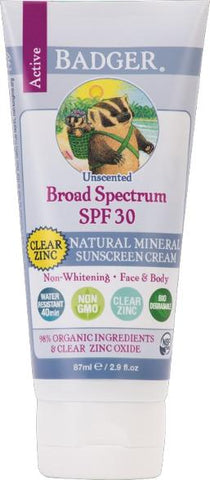 Badger Active Sunscreen Clear SPF 30