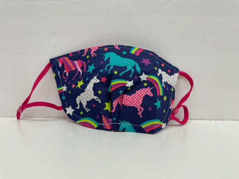 Two Whittle Birds - Navy Unicorn Face Mask