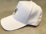 White Five-Panel Twill Cap