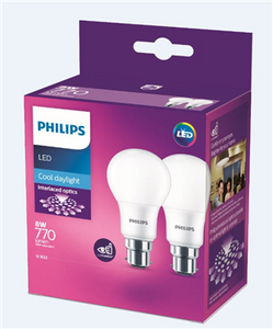 GLOBE LED BC 8WATT CD PHILIPS 2 PACK