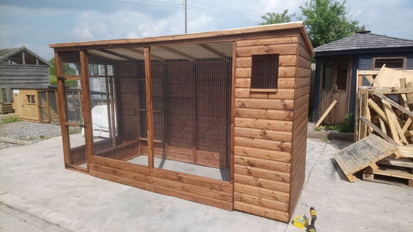 10' x 4' All Weather Cat Aviary with 2' Porch