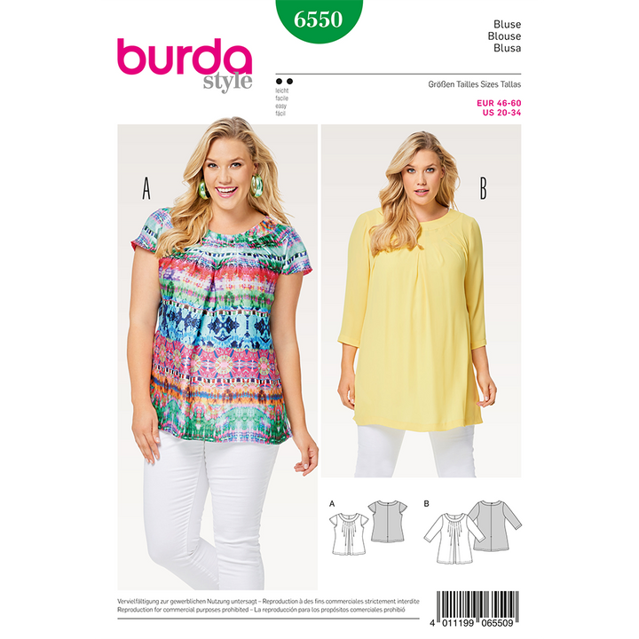 Patron Burda Tallas Plus Modelo 6550