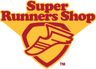 Picture of SuperRunners Shop logo which letters are red and background is yellow.  Looks like Superman shield
