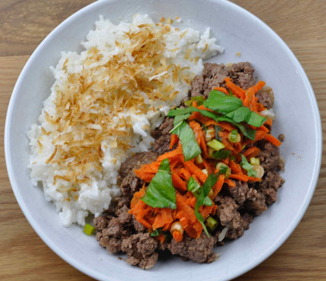 Asian Beef Basil with Coconut Rice