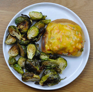 Salmon Melts and Roasted Brussels sprouts