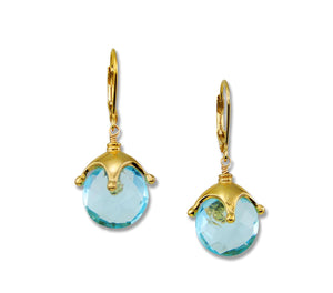 Blue Topaz and Gold Jester Earrings