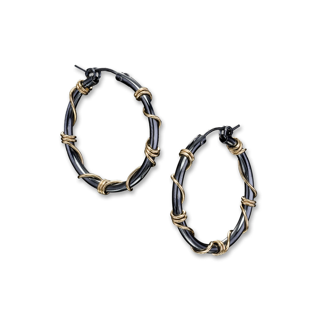 Oxidized Sterling with Gold Wrap Hoop Earrings