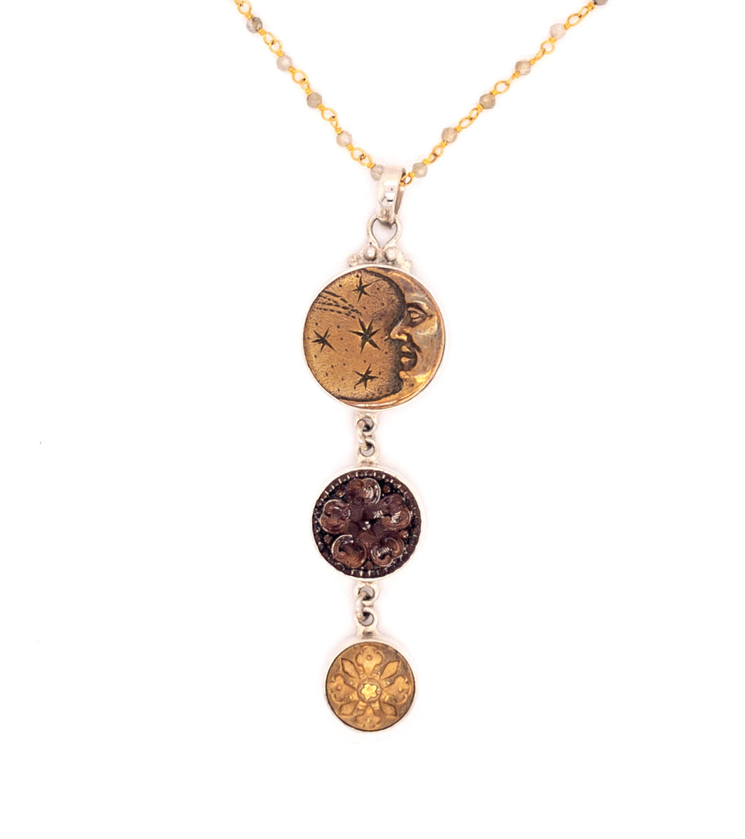 Triple Drop Moon Necklace