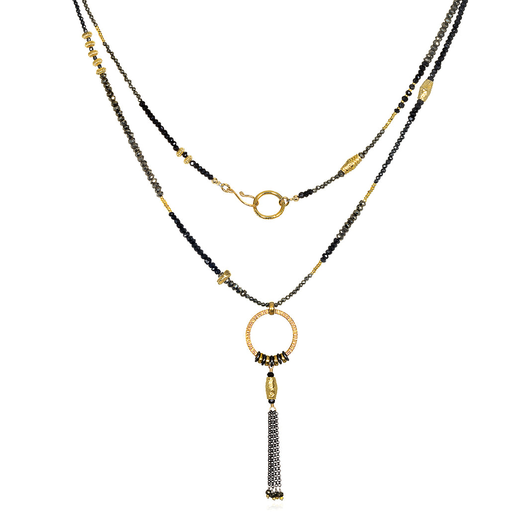 Spinel and Gold Tassel Necklace