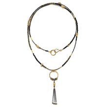 Load image into Gallery viewer, Spinel and Gold Tassel Necklace