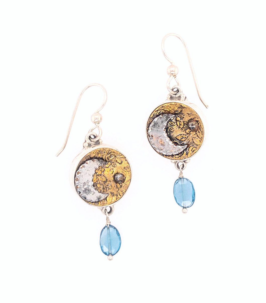 Moon Button Earrings