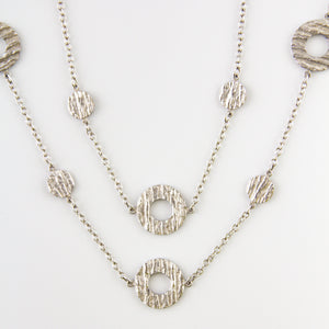 Hammered Sterling Silver Round Chain Necklace