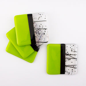 Opaque Lime, Purple & Confetti Coaster Set
