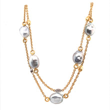 Load image into Gallery viewer, Baroque Tahitian Pearl & Diamond Leaf Necklace