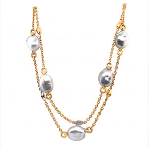 Baroque Tahitian Pearl & Diamond Leaf Necklace