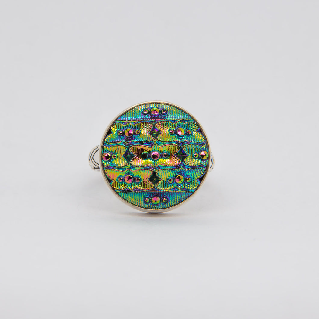 Iridescent Bright Teal Button Ring