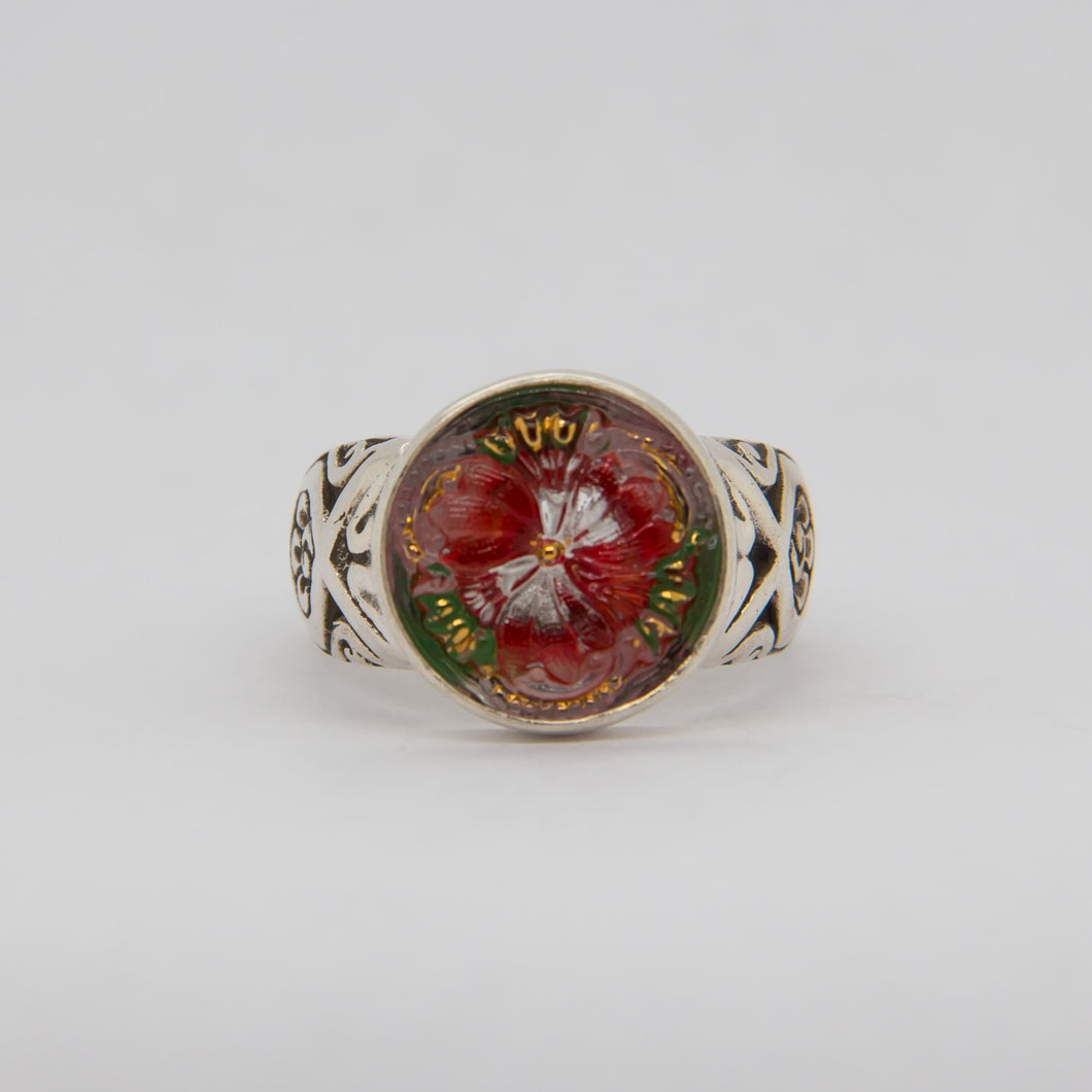 Tropical Flower Button Ring