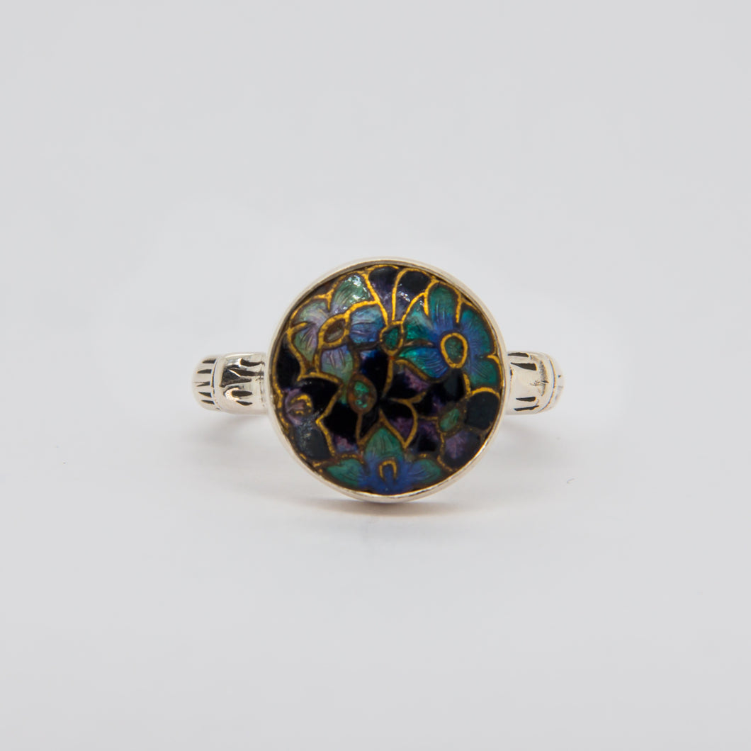 Black and Blue Multi Flower Button Ring