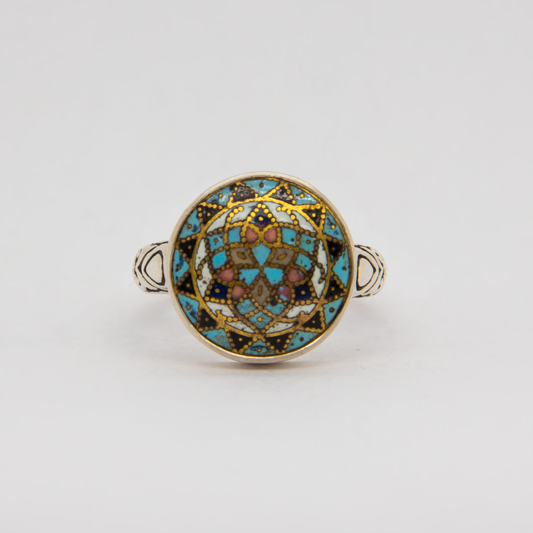 Teal Mandala Button Ring