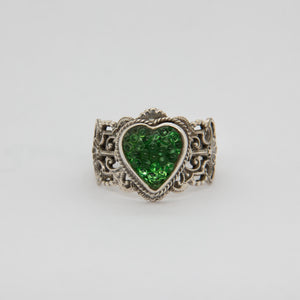 Green Heart Button Ring