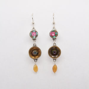 Pink Glass Flower and Gold Button Drop Earrings