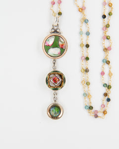 Green Floral Glass Button Drop Necklace