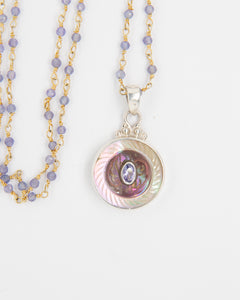 Pearl and Iolite Button Necklace