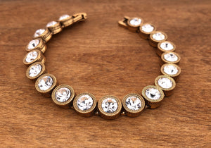 Gold All Crystal 40 Love Bracelet