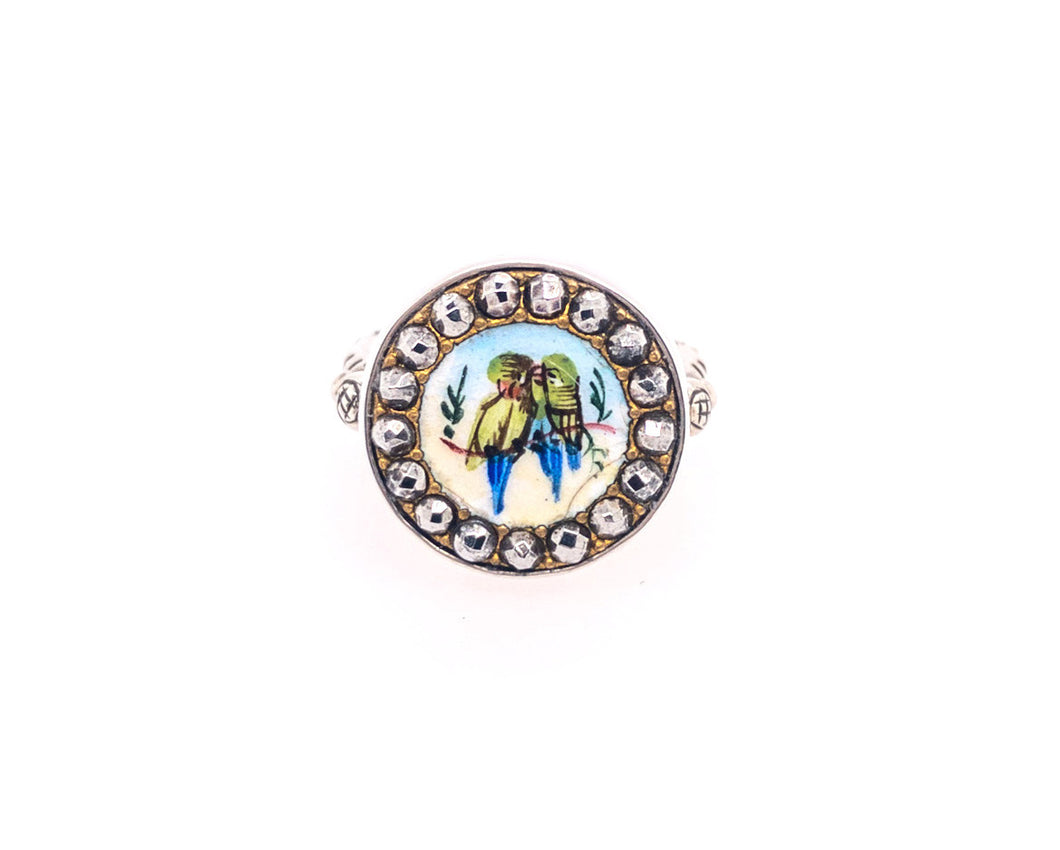 Lovebird Button Ring