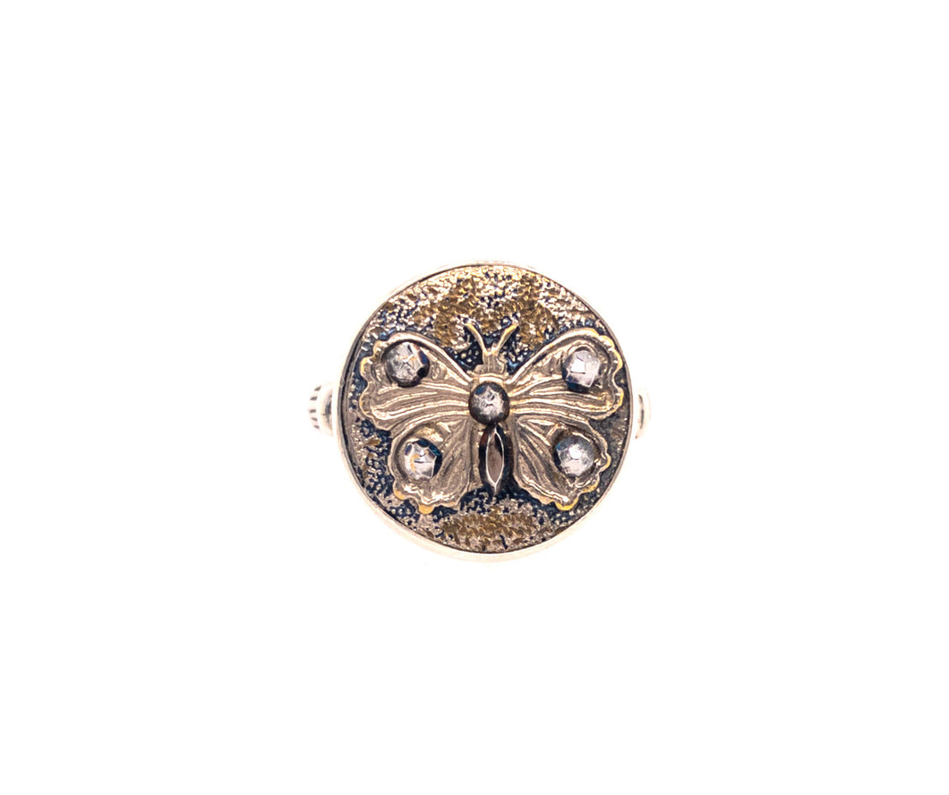 Butterfly Button Ring