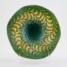 Load image into Gallery viewer, Green and Ruby Fluted Bowl
