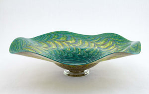 Green and Ruby Fluted Bowl